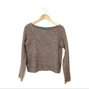 Alice + Olivia Brown Sequin Wool Blend Sweater